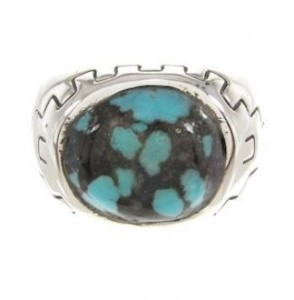 about mens silver turquoise rings