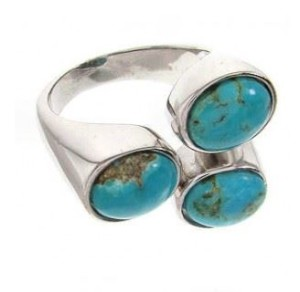 about silver turquoise rings women